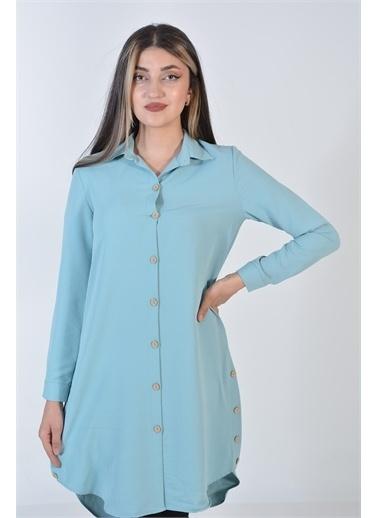 Zeren Kadın Mint Ahşap Düğmeli Tunik Yeşil